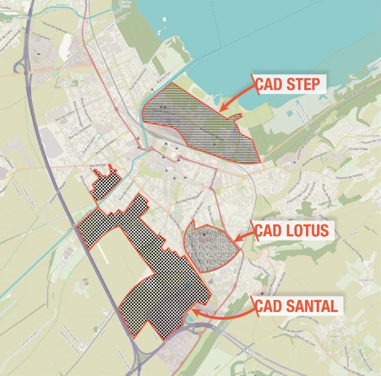 Carte secteurs CAD à Yverdon